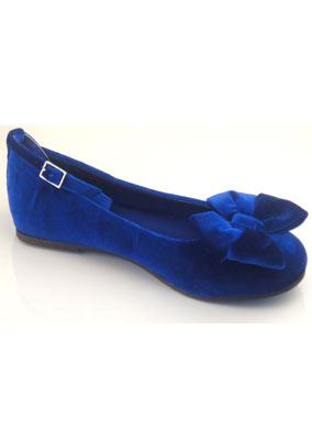 Debenhams girls blue velvet pumps